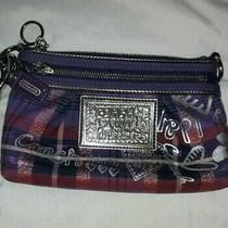 Coach Poppy Authentic Red Purple Coin Purse Wristlet Wallet Clutch Zipper Silver Photo