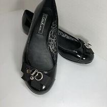 Coach Poppy Black Patent Leather Flats Size 6.5 Photo