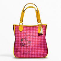 Coach Poppy Bonnie Cashin Houndstooth Large Tote Handbag Coin Purse Pink Yellow Photo