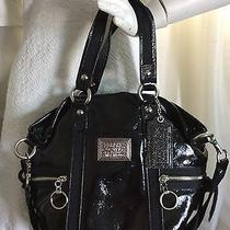Coach Poppy Daisy Liquid Gloss Patent Leather Pocket Tote Bag Black Photo