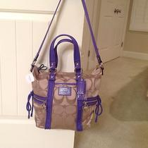 Coach Poppy Daisy Signature Sateen Pocket Tote 20101 Khaki/violet Nwt Photo
