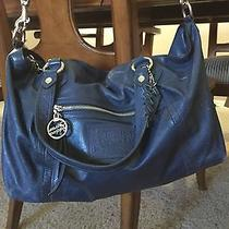 Coach Poppy Duffle Cross Body Large Navy Blue Silver Metal Handbag  Photo
