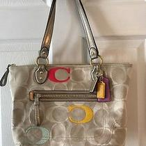 Coach Poppy Embroidered Signature Glam Tote Shoulder Bag 23521 Photo