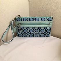 Coach Poppy Fabric Pastel Blue Letter C Design Wristlet Clutch Photo