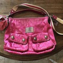 Coach Poppy Fuchsia Pink Hobo Shoulder Crossbody Bag With Coach Scarf Photo