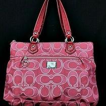 Coach Poppy Glam Signature Lurex Large Tote Bag Purse 17890 Red Metallic Silver Photo
