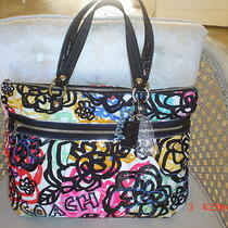 Coach Poppy Graphic Blossom Glam Tote  Rare ( Mint ) 15591 Photo