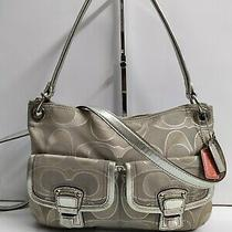 Coach Poppy Khaki Grey Signature & Leather Hippie Crossbody Shouldre Bag Purse Photo