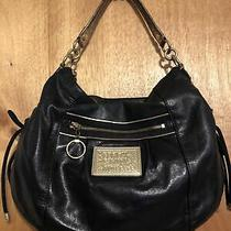 Coach Poppy Large Hobo Leather Black and Gold Handbag Purse 15289 Photo
