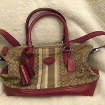 Coach Poppy Leather C Large Red & Brown Tote Bag Purse W/tassles Strap Authentic Photo