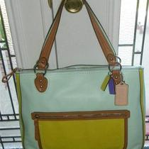 Coach Poppy Leather Colorblock Hallie Tote-Candied Aqua/celadon-Nwt-22430 Photo