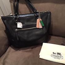 Coach Poppy Leather Smooth Tote/handbag Black Photo