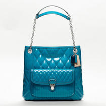 Coach Poppy Liquid Gloss Slim Tote Style F19830 Sv/teal Photo