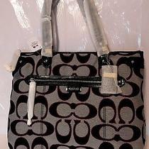 Coach Poppy Metallic Glam Bag Signature Tote Black Pink / Handbag Photo