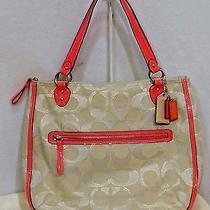 Coach Poppy Metallic Outlined Hallie Tote Handbag Shoulder Bag Purse 22455 Nice Photo