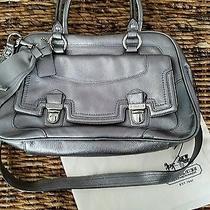 Coach Poppy Metallic Silver Leather Slate Handbag Purse With Dust Bag Photo