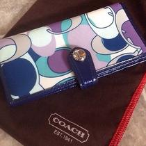 Coach Poppy Multi Color Check Book Cover Wallet Euc Photo
