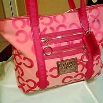 Coach Poppy Op Art Signature Glam Tote Handbag. 14530 Photo