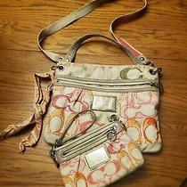 Coach Poppy Orange Green Yellow Crossbody Purse Wallet Wristlet Scarf Set Photo