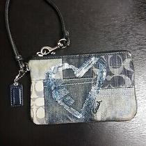 Coach Poppy Patchwork Sequin Heart  Denim  Multi Blue Wristlet Wallet  Photo
