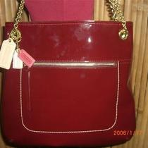 Coach Poppy Patent Leather Crimson Red Slim Tote Nwt 21583 Photo