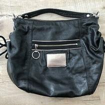 Coach Poppy Patent Leather Hobo Shoulder Bag Black Silver Hardware Side Ties Photo