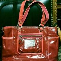 Coach Poppy Patent Leather Red Tote Shoulder Bag Photo