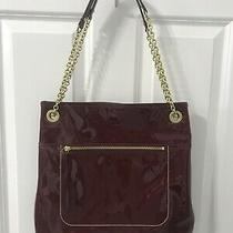 Coach Poppy Patent Leather Slim Tote Handbag Purse Crimson Red 21583 Photo