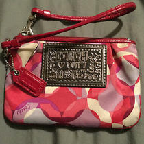 Coach Poppy Pink & Purple Small Wristlet Purse- Used Once  Photo