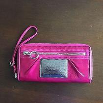 Coach Poppy Pink Signature Jacquard Paten Leather Trim Zip Around Wallet Photo