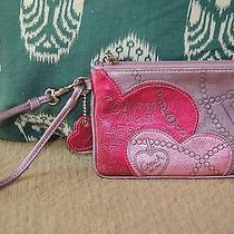 Coach Poppy Purple and Pink Hearts Wristlet Photo