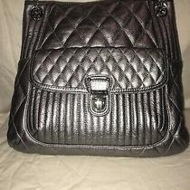 Coach Poppy Quilted Leather Slim Tote Purse 19854 Silver/ Metallic / Gunmetal Photo