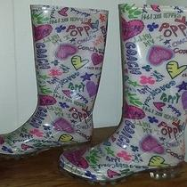 Coach Poppy Rain Boots Size 8 Colorful Fun Print Photo