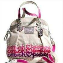 Coach Poppy Rhinestone Hearts Highlight Hand/messenger Bag. Khaki/pink/purple  Photo