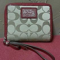 Coach Poppy Signature Khaki Beige Raspberry Red Patent Zip Around Wallet Nice  Photo