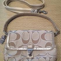 Coach Poppy Signature Lurex Layla Khaki 18136 Top Handle Crossbody Messenger Bag Photo