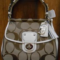 Coach Poppy Signature New Willis Tote Khaki White Bag Purse- 19034 Nwt Photo