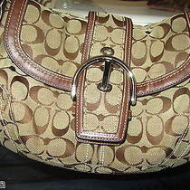 Coach Poppy Signature Satchel C060-10297 Brown and Beige Bag Photo