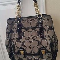 Coach Poppy Signature Sateen Metallic Tote  Photo