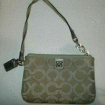 Coach Poppy Small  Wristlet Leather Trim Hangi Tag Signature Purse 6x4 Photo