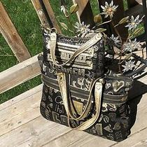 Coach Poppy Story Patch 15301 Black & Metallic Gold Glam Tote Bag & Small  Set Photo