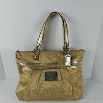 Coach Poppy Story Patch Glam Glamour Tote Shoulder Bag 15301 Khaki Gold Rare Photo