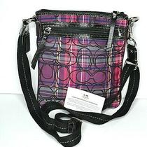 Coach Poppy Tartan Pink/purple Plaid Signature Logo Swingpack /crossbody Purse Photo