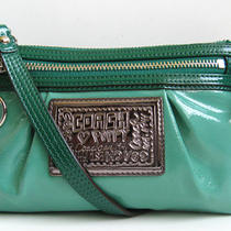 Coach Poppy Teal Green & Emerald Clutch Convertible Excellent Photo