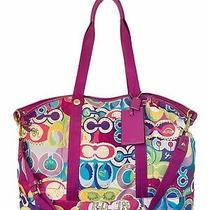 Coach Poppy Weekend Xl Travel Bag Tote Purple F77306 Signature Pop C Purple Used Photo