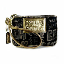 Coach Poppy Wristlet Wallet Small Pouch Black & Gold Canvas Excellent  Photo
