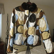 Coach Pre-Owned Quilted Scarf Signature C Jacket Coat Rabbit Fur Collar Size M Photo