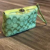 Coach Print Bag Green Handbag Wristlet Photo