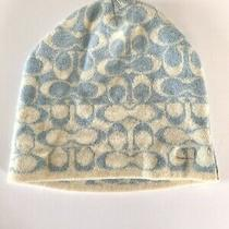 Coach Print Beanie One Size 100% Knit Cashmere Cap Winter Hat Blue and White Photo
