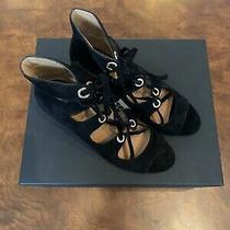 Coach Priscilla Black Suede Lace Up Sandal Block Heels Size 10 Photo